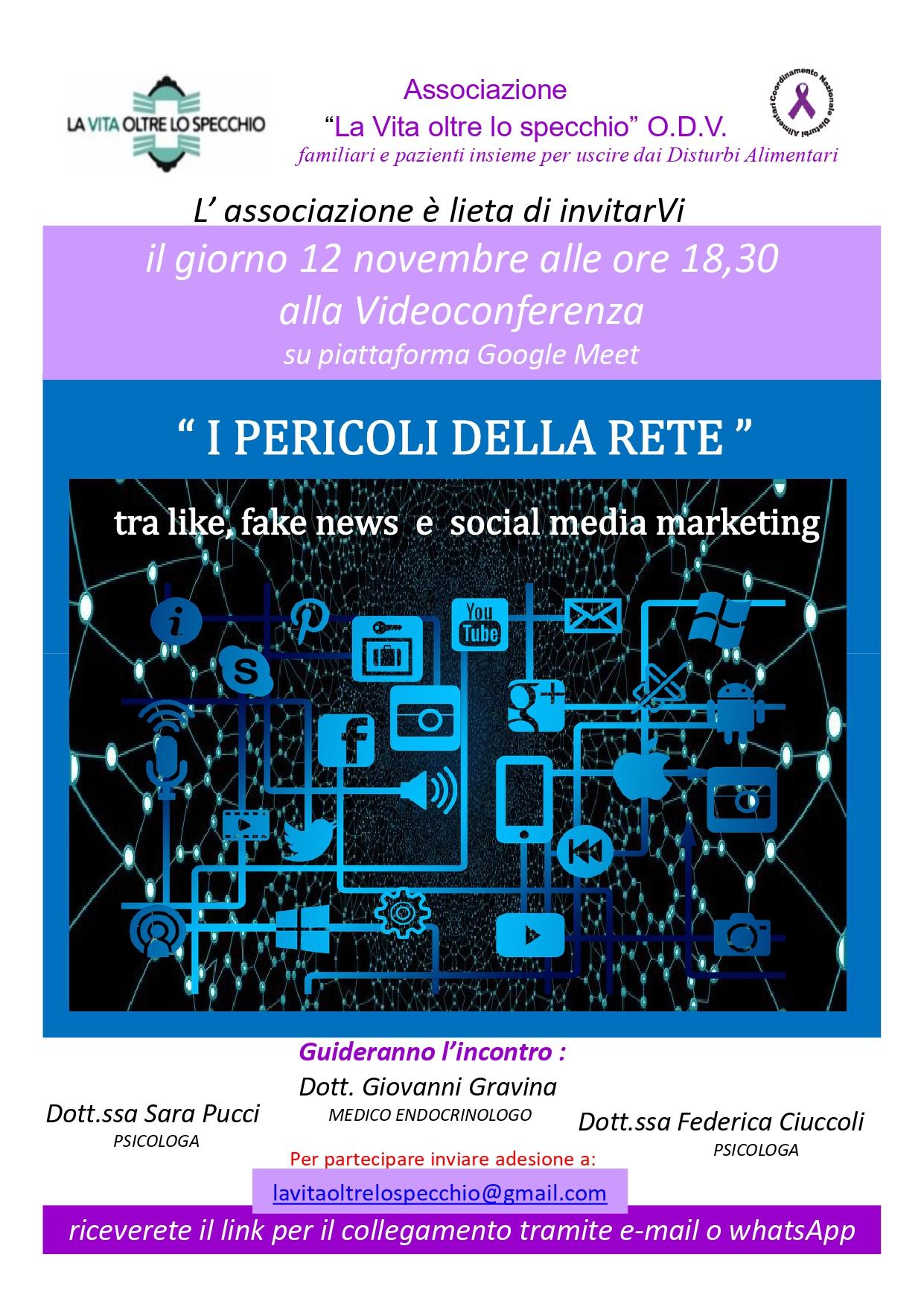 """Videoconferenza """"I pericoli della rete"""" – Associazione """"La vita oltre lo specchio""""- Pisa"""
